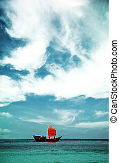 Sailfish with Scarlet sails - Sailfish with red sail the sea...