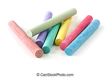 Colored Chalk - Sticks of pastel colored chalk, casting...