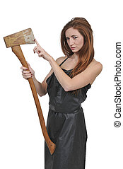 Woman with an axe - Beautiful young woman holding an wooden...