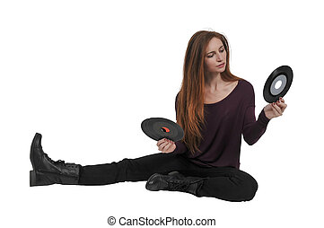 Woman with vinyl 45 record - Beautiful woman with vintage 45...