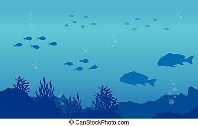 Silhouette of fish on the sea landscape