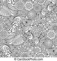 Sketchy doodles decorative floral pattern - Sketchy doodles...