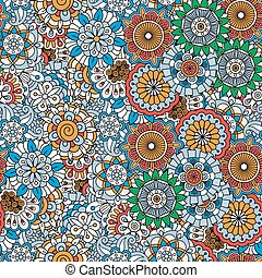 Doodle colored decorative floral pattern with mandala like...