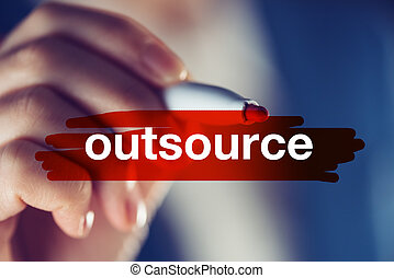 Outsource business concept with businesswoman highlighting...
