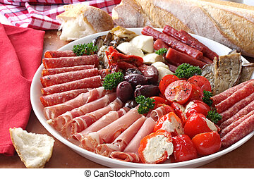 Antipasto - Platter of antipasto, with crusty bread A...