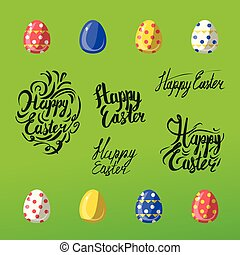 Vector easter celebrating elements - hand lettering calligraphy and illustrations of eggs