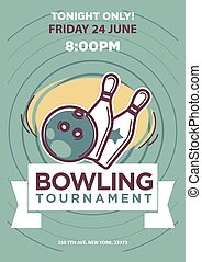 Bowling tournament poster template. Sport game contest event...
