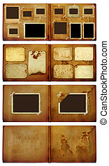 Vintage photoalbum for photos on isolated background - Set...