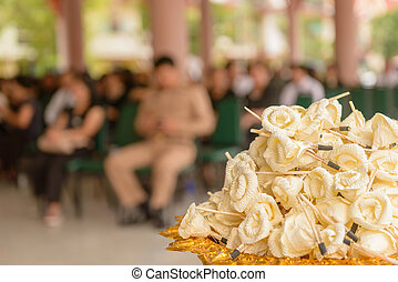 Sandalwood flowers or artificial flowers or wood cremation...