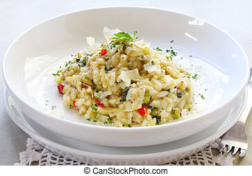 Risotto - Chicken and garlic risotto, garnished with shaved...