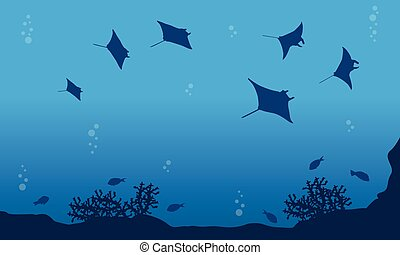 Illustration of stingray on ocean landscape collection stock