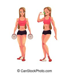 Woman bodybuilder holding dumbbells and drinking protein...