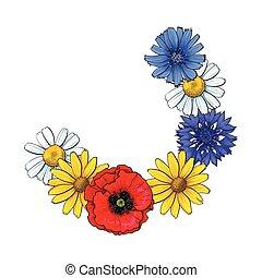 Segment of wild flower wreath, decoration element, sketch...