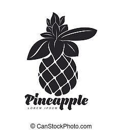 Black and white assymmetric graphic pineapple logo template,...