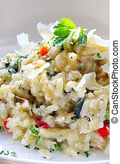 Risotto - Chicken and garlic risotto, with shaved parmesan...