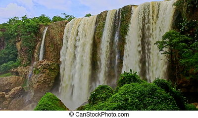 Close Waterfall Elephant by Forestry Rocks with Mist under...
