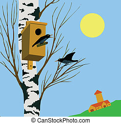 vector illustration starling on tree