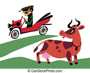 vector illustration of the old-time car on field