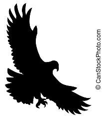 vettore, silhouette, affamato, uccello, bianco, fondo