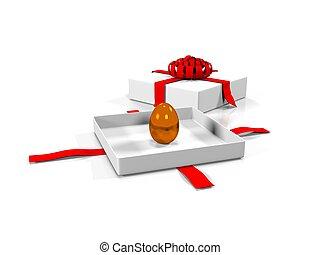 Easter egg in gift box 3d render