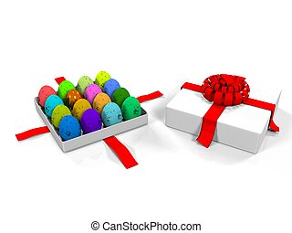 Easter egg in gift box 3d render - 3d render Easter egg in...