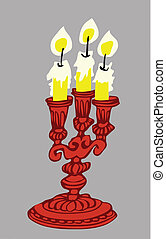 vector illustration of the candle on gray background