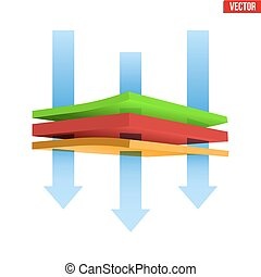 Thermal multilayer material - Technical illustration of...