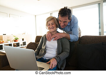 Senior couple with laptop on a couch in living room -...