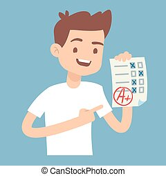 Teen student holding paper with perfect school exam test vector illustration