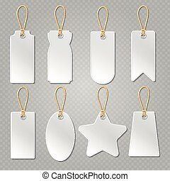 Blank baggage labels, white luggage tag, clothes price tags vector set