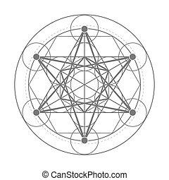 geometría,  metatrons, sagrado, Ilustración, Cubo