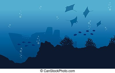 Collection of ship and stingray underwater landscape vector...