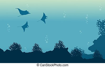 Beauty landscape of underwater with stingray vector...