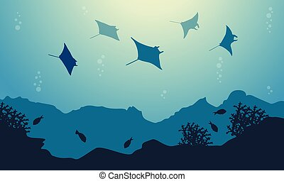 Underwater landscape of stingray and fish vector art