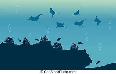 Silhouette of fish and stingray underwater landscape...