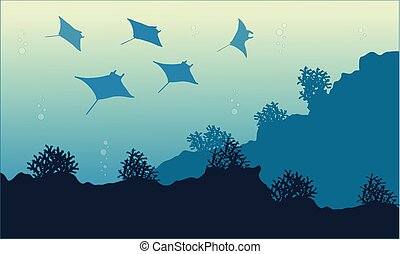 Collection of underwater landscape with stingray vector art