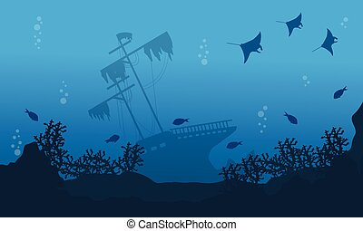 Ship stingray and fish on sea landscape vector art