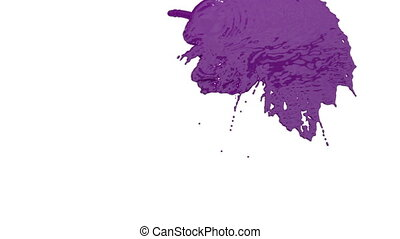 stream of violet paint falling on white background - screen and dripping down over white. 3d render with alpha mask for background, transition or overlays. Version 3