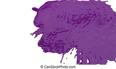 stream of violet paint falling on white background - screen and dripping down over white. 3d render with alpha mask for background, transition or overlays. Version 4