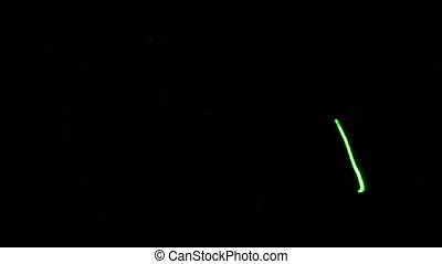 Lights effects at the party - Green laser light over black...