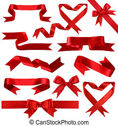 Red silk banner collection isolated on white background