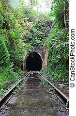 Abandoned historic railway tunnel - Water cascading across...
