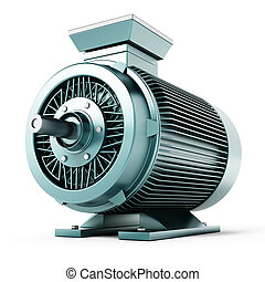 Generic electric motor isolated on white background. 3D...