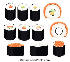 Sushi roll collection Colorful sushi set of different types chopsticks and bowls