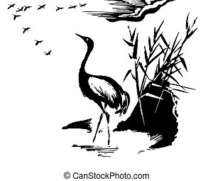 vector illustration of the crane on white background