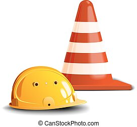 road cone and helm - Yellow construction helmet and a red...