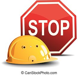 Helmet and sign STOP - Yellow construction helmet and a red...