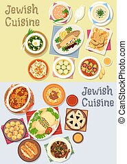 Jewish cuisine kosher food icon for menu design - Jewish...