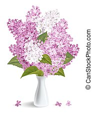 Lilac - Spring flowers. Gentle fragrant violet and white...