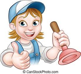 Cartoon Plumber Woman Holding Plunger - A plumber handyman...